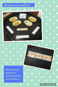 Creating repeating patterns using pasta and beans.