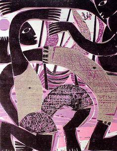 NÄCHTE IN BAHIA, CAPOEIRA Farbholzschnitt 1989 Bildformat 40 x 31,5 cm, auf Japanpapier 65 x 45 cm, Auflage 15 Exemplare, signiert und nummeriert.