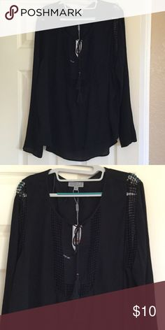 Shirt Soft flows black shirt with punch out hole detail on sleeves and front Tops Blouses