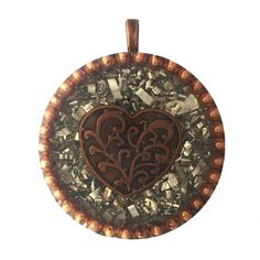 COPPER HEART Orgonite Pendant, Orgone Energy Pendant, High Energy Copper Heart Orgone, Copper BBs, Metal Shavings, Brass Coils by AttunementShop on Etsy