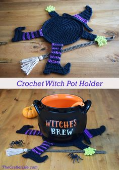 Flattened Witch Pot Holder - The Crafter Life Best Picture For topflappen stricken anleitung For You Crochet Pour Halloween, Moldes Halloween, Halloween Crochet Patterns, Adornos Halloween, Halloween Crafts, Halloween Party, Halloween Knitting, Crochet Fall, Holiday Crochet