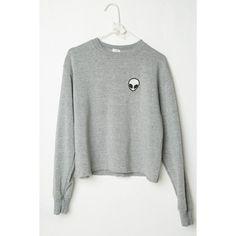 Acacia Alien Patch Sweatshirt (48 CAD) ❤ liked on Polyvore featuring tops, hoodies, sweatshirts, sweater pullover, fleece lined sweatshirt, crop top, pullover sweatshirts and cropped sweatshirt