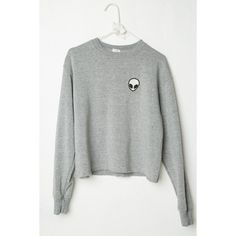 Acacia Alien Patch Sweatshirt (£29) ❤ liked on Polyvore featuring tops, hoodies, sweatshirts, sweaters, shirts, patch shirt, shirts & tops, fleece lined shirt, heather gray shirt and sweater pullover