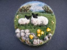 Handmade needle felted brooch        In the April Sunshine      by Tracey Dunn