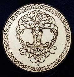 The world tree, Yggdrasil, and Mjolnir come together surrounded by a braided border on a diameter disc. Yggdrasil Tattoo, Norse Tattoo, Celtic Tattoos, Viking Tattoos, Norse Pagan, Norse Mythology, Vikings, Valhalla, Small Symbol Tattoos