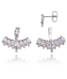 ear jacket navetes cristais semi joias luxo