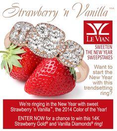 Win a Le Vian® Strawberry 'n Vanilla™ Ring in 14K Strawberry Gold® and Vanilla Diamonds®. ARV: $3,200