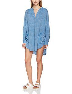 Seafolly Damen Strandkleider Boyfriend Beach Shirt, Blau (Chambray), 36 (Herstellergröße:S)