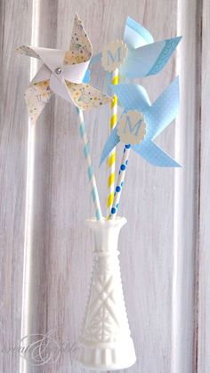 DIY Paper Pinwheels ~ So cute for baby shower decor, kid craft or any party! www.oneshetwoshe.com.