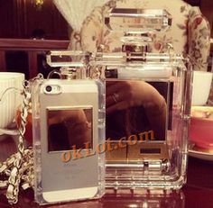Online Shop 2014 Hot sale Luxury Brand Perfume Bottle Leather Lanyard Chain silicone case For iphone 5 5s 4 4s Handbag style TPU Cover Aliexpress Mobile