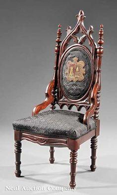 American Gothic Carved Walnut Child's Chair, c. Dream Furniture, Victorian Furniture, Antique Furniture, Cool Furniture, Gothic House, Victorian Gothic, Gothic Interior, Interior Design, American Gothic