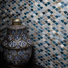 Artistic Tile Scale Mosaic in a range of blue tones.