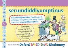 Scrumdiddlyumptious food is utterly delicious. Everything that Willy Wonka invents is scrumdiddlyumptious! Roald Dahl Day, Willy Wonka, Inventions, Childrens Books, English, Education, Sayings, Pictures, Inspiration