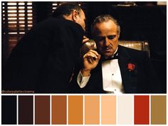 """""""The Godfather"""" Directed by Francis Ford Coppola Cinematography: Gordon Willis Production Design: Dean Tavoularis Costume Design: Anna Hill Johnstone Movie Color Palette, Red Colour Palette, Color Palettes, The Godfather 1972, Color In Film, Shot Film, Cinema Colours, Color Script, Francis Ford Coppola"""