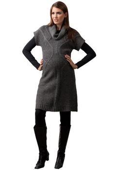 Nicci Maternity Sweater Dress in Charcoal Melange