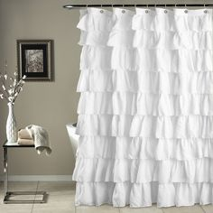 Ruffle Shower Curtain White - Lush Decor shower curtain in microfiber has overlapping Features: set includes: 1 Shower CurtainDry Shower Curtain: x Solid Pattern White Ruffle Shower Curtain, Pretty Shower Curtains, Ruffle Curtains, White Shower, Shower Curtain Hooks, Bathroom Shower Curtains, Fabric Shower Curtains, Shabby Chic Shower Curtain, Shower Window