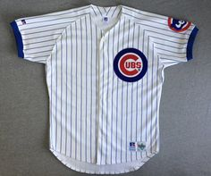 CHICAGO CUBS Jersey Shirt 90's Vintage/ by sweetVTGtshirt on Etsy Jersey Shirt, T Shirt, Vintage Jerseys, Russell Athletic, Cubbies, Chicago Cubs Logo, Overalls, Sleeves, Stuff To Buy