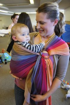 """Girasol """"Earthy Rainbows"""" wrap conversion ring sling. must. have."""