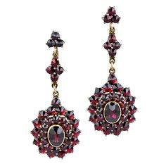 Garnet Drop Earrings - 20-1-4240 - Lang Antiques