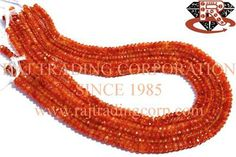 Carnelian Faceted Roundel (Quality B) Shape: Roundel Faceted Length: 36 cm Weight Approx: 9 to 11 Grms. Size Approx: 3 to 5 mm Price $12.00 Each Strand