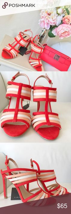 Zara Coral heels New with tags and box - EUR SIZE 36 38  NO TRADES  Offers via offer feature only ! 👍🏻  💗💗IG: iluvshoes22 💗💗  🎈🎈🎈15% off bundles 🎈🎈🎈 Zara Shoes Heels