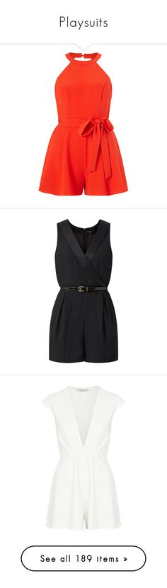 """Playsuits"" by giovanna1995 ❤ liked on Polyvore featuring playsuit, jumpsuits, rompers, dresses, jumpsuits and rompers, petite, red jumpsuits, red halter top, orange jumpsuit and red romper jumpsuit"