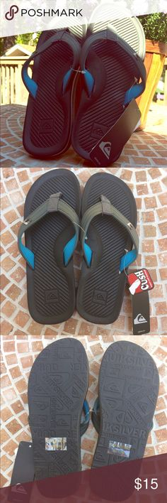 Quicksilver flip flops Brand new flip flops! Super cushioned sole and soft gel material on the inside of the strap. Add to a bundle for 20% off!! Quiksilver Shoes Sandals & Flip-Flops