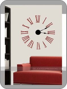 Clock Wall Decal Large Wall Clock Kit with working hands and clock ...