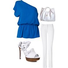 Blue and White, created by shavonda-board-williams on Polyvore