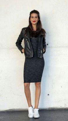 dd1c39d1612f Black on Black on Black dress Leather Jacket White Converse