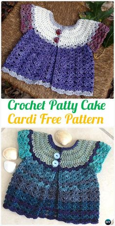Crochet Patty Cake Baby Cardigan Sweater Pattern- Crochet Kid's Sweater Coat Free Patterns