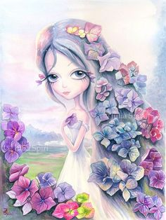 Hydrangea watercolor painting. Pop Surrealism