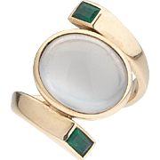 Rare 14k Gold ANTONIO PINEDA Moonstone and Emerald Ring