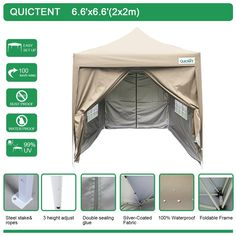 Quictent Silvox 6.6' X 6.6' Ez Set Pop up Gazebo Party Wedding Tent Canopy Marquee  4 Sidewalls  carry Bag 4 colors 100% Waterproof *** Check out this great product.