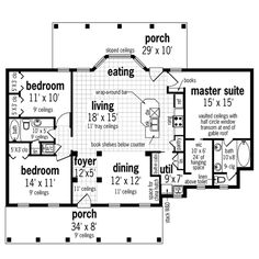 Main Level Floor Plan image of Oakland Park - 1520 House Plan. PERFECT, change bathroom around a little. But love the master closet to laundry, love the bedroom/basement combo!!!