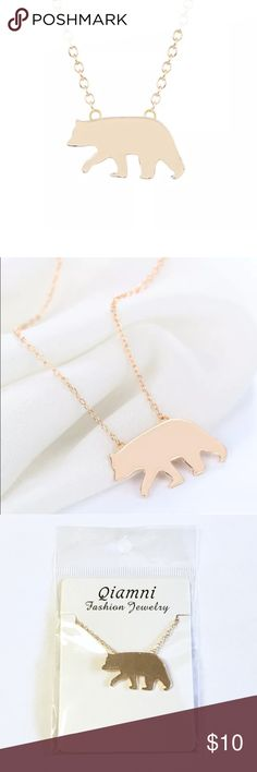 """🐻 Gold Bear Necklace Very cute gold-toned bear pendant on an 18"""" chain and a lobster clasp. Perfect for an animal lover. This would make a great gift for a Californian because of its resemblance to the California Republic bear. Offers welcome! Not intended for children under 12. Jewelry Necklaces"""