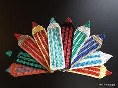 10 Free Crochet Bookmark Patterns Striped Pencil Bookmark Crochet Pattern Learn the rudiments of how Crochet Pillow, Crochet Stitches, Crochet Patterns, Flower Patterns, Crochet Books, Crochet Gifts, Crochet For Kids, Free Crochet, Bookmark Crochet