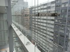 Glass wall with fins Glass Room Divider, Canopy, Multi Story Building, Windows, Interior, Wall, Indoor, Walls, Canopies