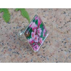 photo ring, photo flower ring, botanical ring, adjustable ring, square ring, nature ring, floral ring, garden ring, pink, glass jewelry