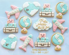Travel theme birthday cookies for my dear daughter☺️✈️💝Happy Birthday to the most caring, kind, generous and thoughtful girl Baby Cookies, Baby Shower Cookies, Cute Cookies, Royal Icing Cookies, Birthday Cookies, Cupcake Cookies, Sugar Cookies, Baby Shower Parties, Baby Shower Themes