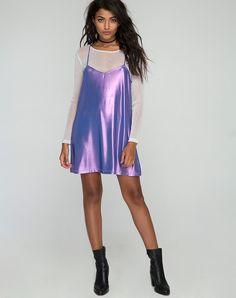 Meadow Slip Dress in Metallic Jersey Lilac by Motel