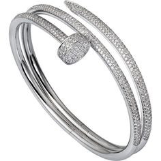 CARTIER Juste un clou 18ct white-gold and diamond double bracelet ($93,875) ❤ liked on Polyvore featuring jewelry, bracelets, accessories, white gold diamond jewelry, diamond jewellery, diamond bangle, diamond jewelry and white gold diamond bangle