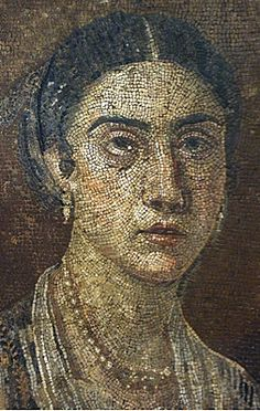 A mosaic portrait of a woman from Pompeii over 2,000 year old .British Museum.