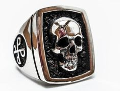 Phantom ring, Skull ring, Silver ring, 925 Sterling Silver Style Heavy Biker Harley Rocker Men's Jewelry, The F4 PHANTOM Lee Falk (R-32)