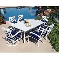 7pc Aluminum Outdoor Dining Table Chairs White Patio Furniture Set