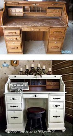 nice update on an oak desk - Dıy Desk Bedroom Ideen Desk Redo, Desk Makeover, Furniture Makeover, Furniture Projects, Furniture Making, Home Projects, Diy Furniture, Office Furniture, Refurbished Furniture