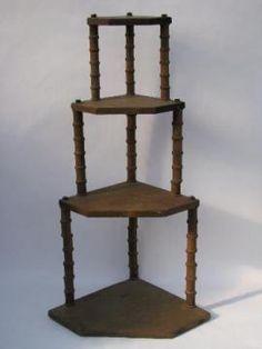 primitive depression era vintage folk art wooden spool furniture corner shelf