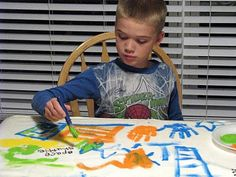 Easy way for kids to customize a fleece blanket for themselves or for a gift! Acrylic paint is permanent and won't wash or fade on fleece.
