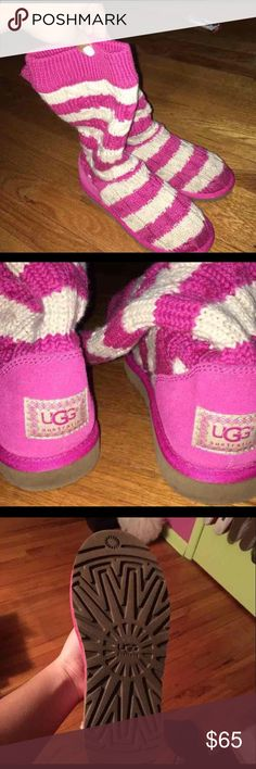 Pink uggs Pink and cream striped uggs size 7! Only worn a few times! Beautiful condition. Taking offers UGG Shoes Winter & Rain Boots