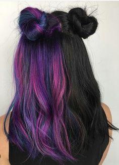 Hair Color Streaks, Hair Dye Colors, Gorgeous Hair Color, Cool Hair Color, Zoella Hair, Split Dyed Hair, Half And Half Hair, Aesthetic Hair, Coloured Hair